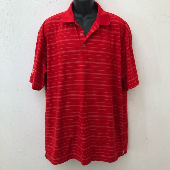 Nike Other - Nike Golf FitDry Red White Striped Polo Shirt XL